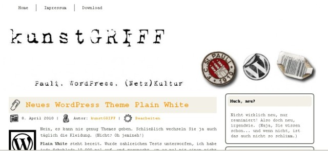 Screenshot blog kunstgriff worpress theme plain white